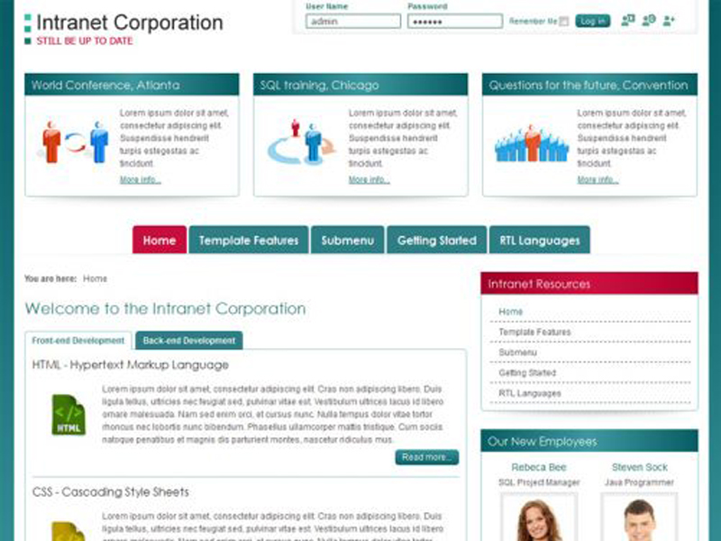 Company Intranet Template Free