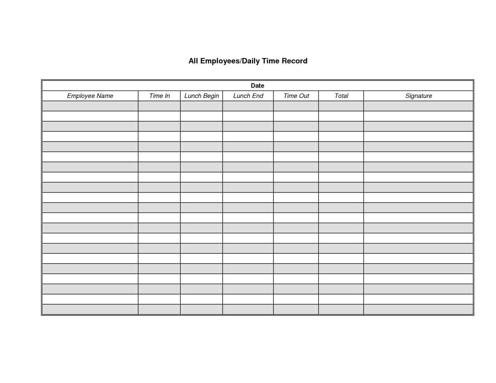 Construction Time Sheets Template