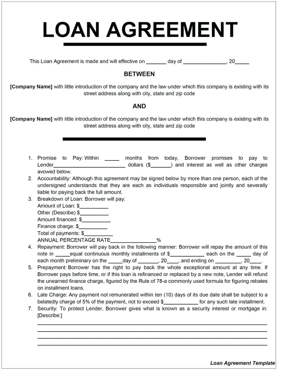 Draft Loan Agreement Template