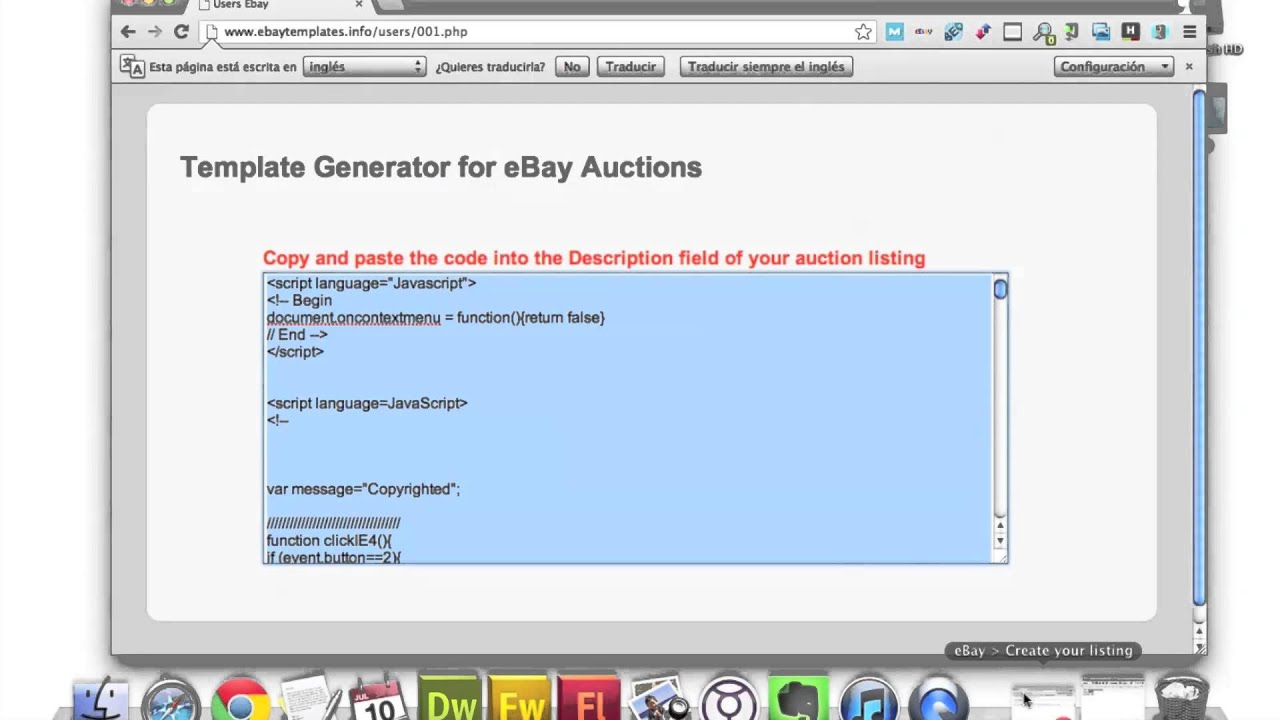 Ebay Auction Template Generator