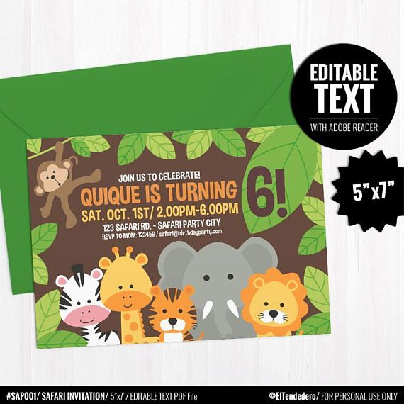 Editable Jungle Invitation Template