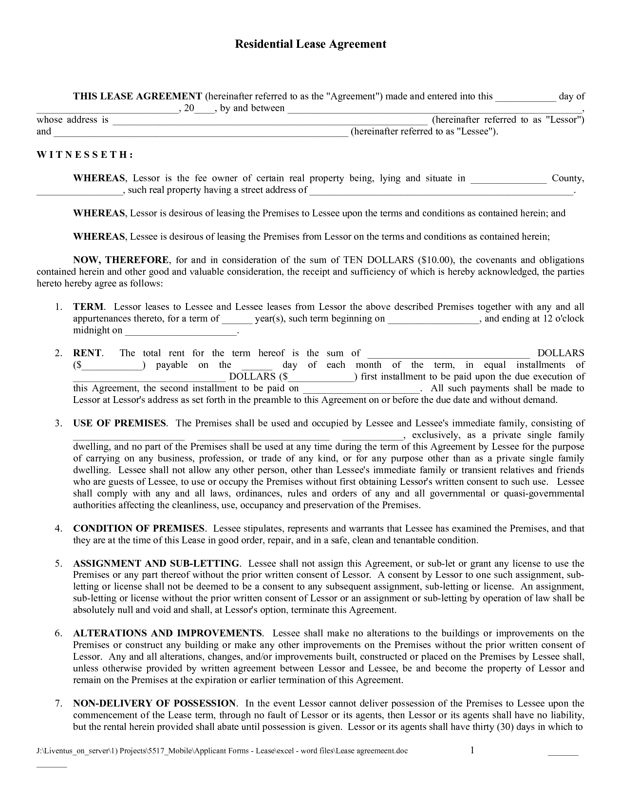 Editable Lease Agreement Template