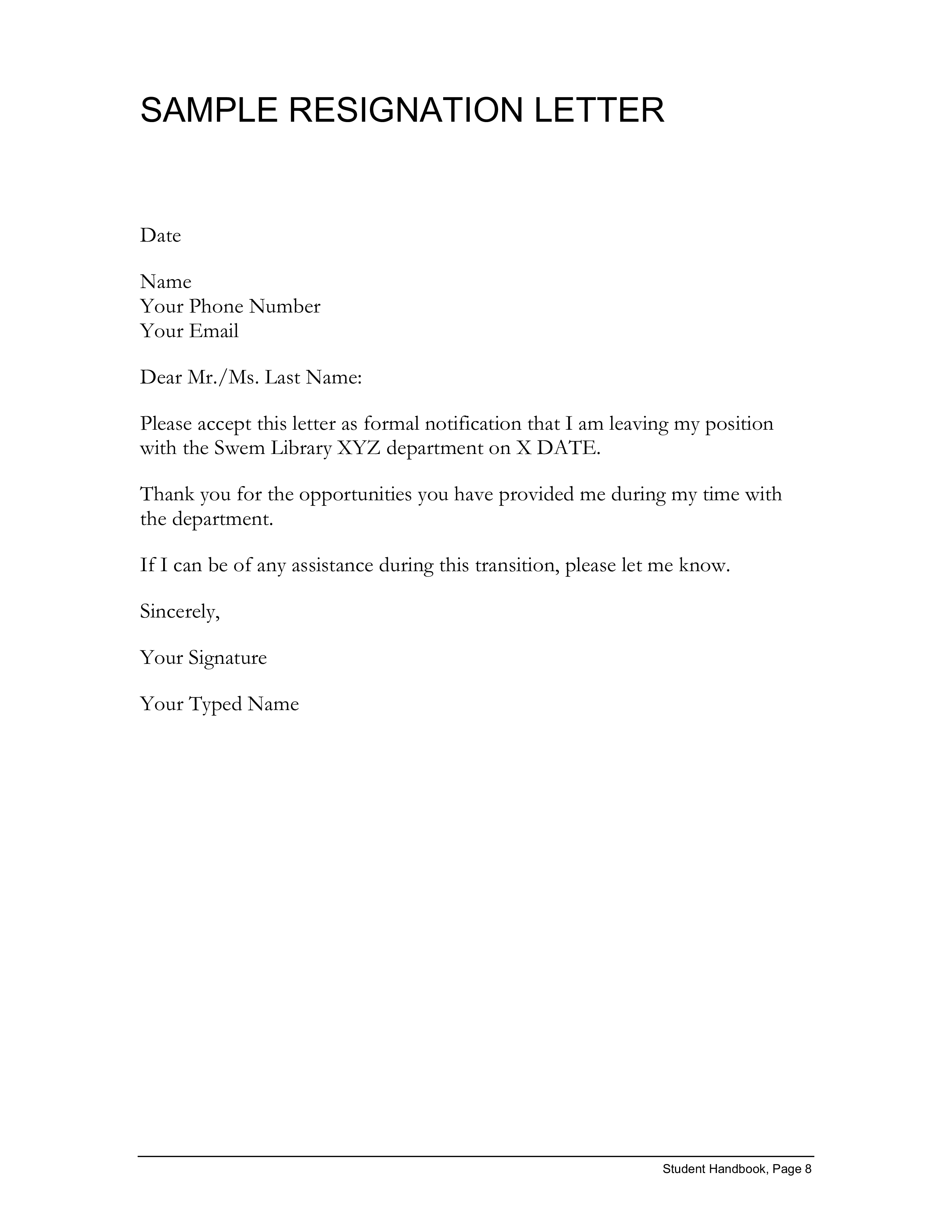 Formal Resignation Letter Templates