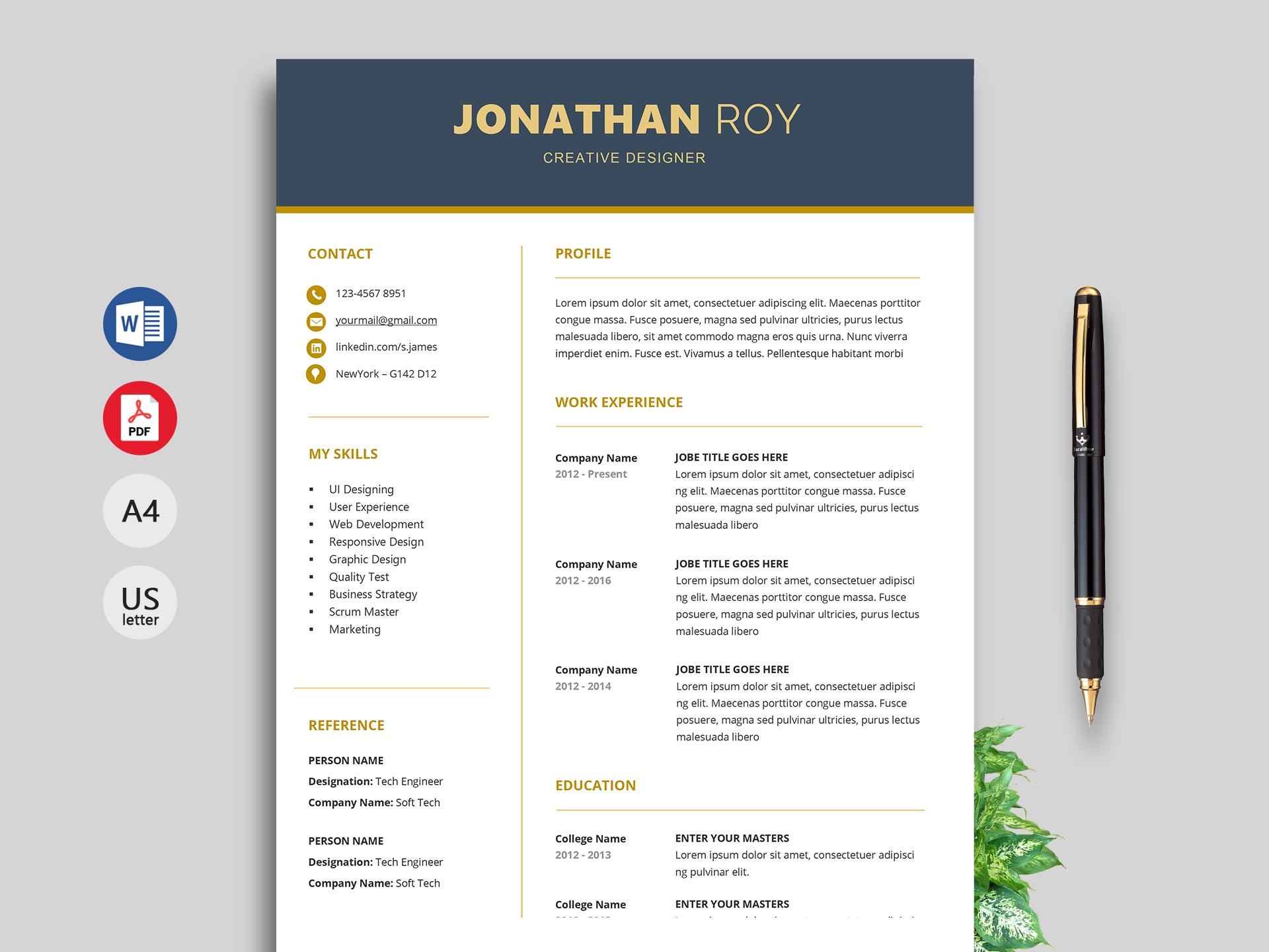 Format Free Resume Template Download