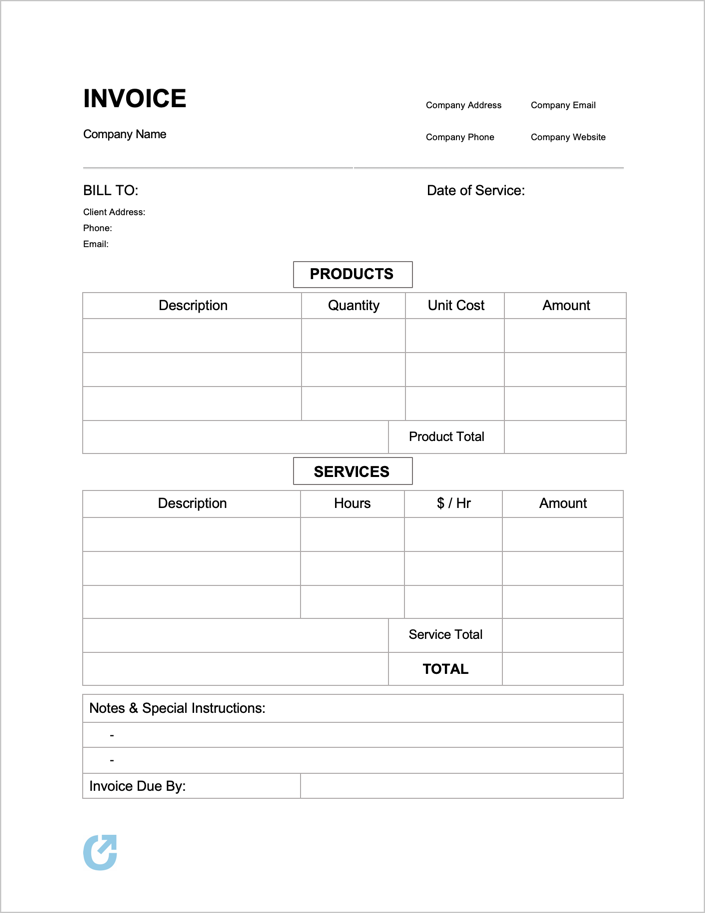 Free Blank Invoice Template Pdf