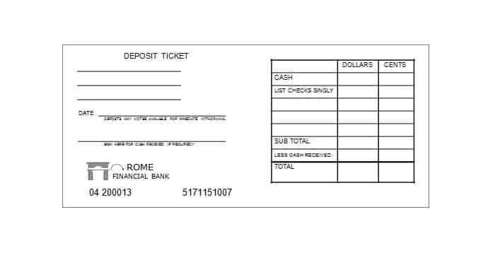 Free Printable Deposit Slips Template