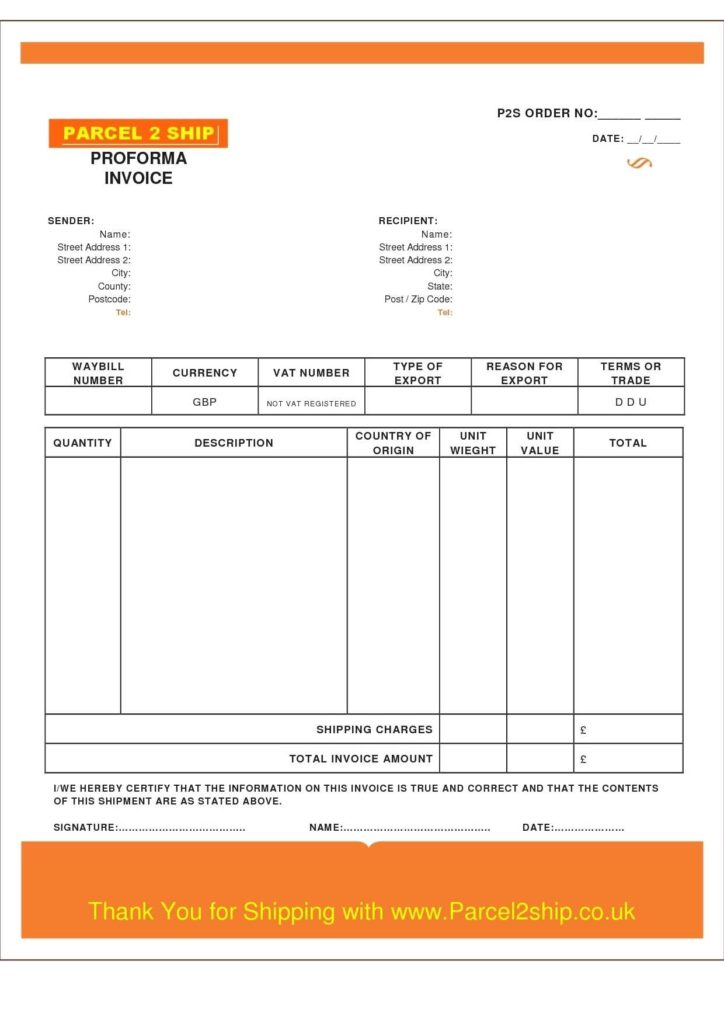 Garage Invoice Template Uk