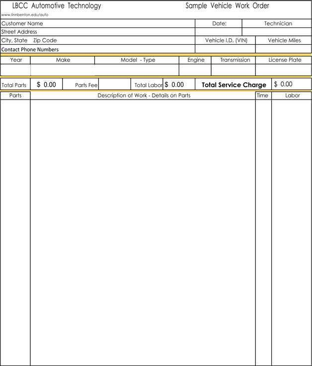 Garage Invoice Template Word