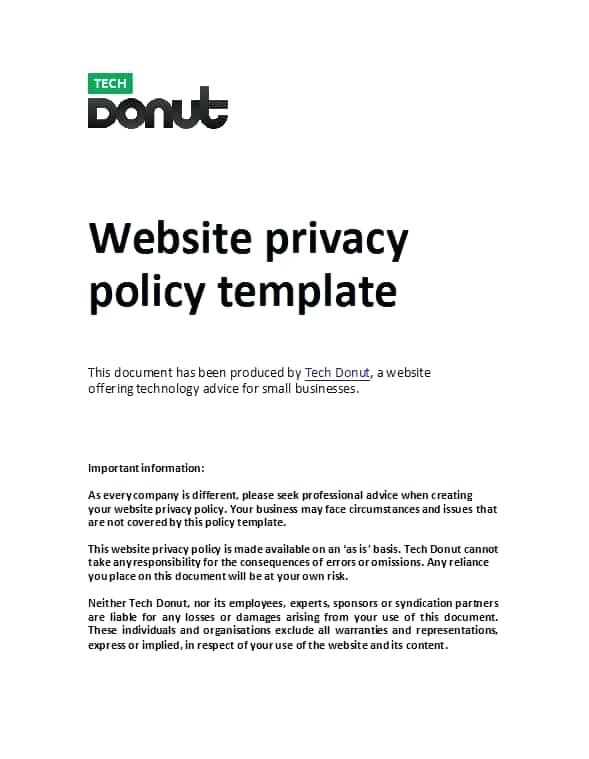 Generic Privacy Policy Template Bbb