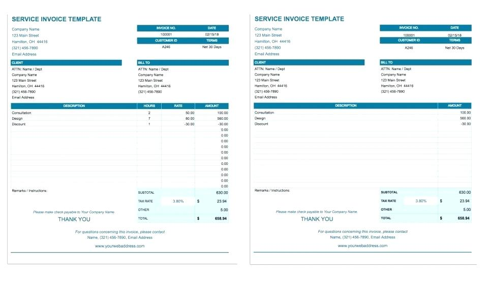Google Docs Free Invoice Template Doc Download