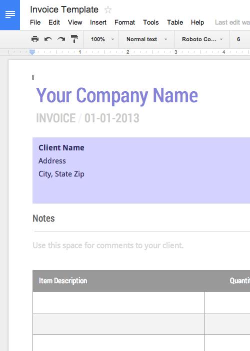 Google Free Invoice Template