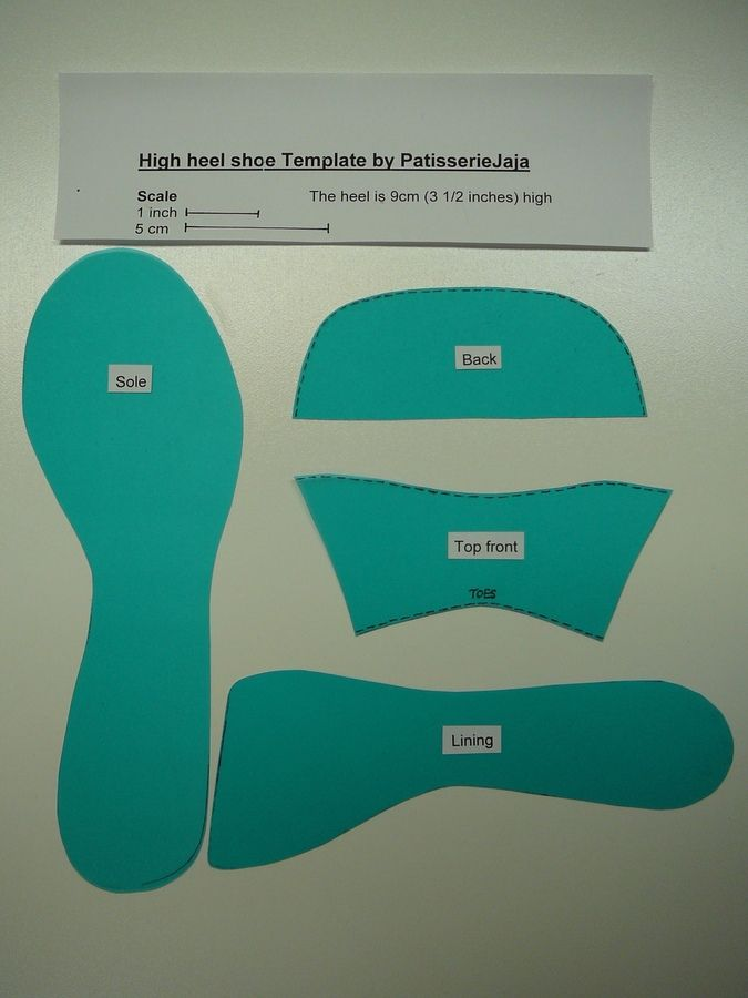 High Heel Fondant Shoe Template