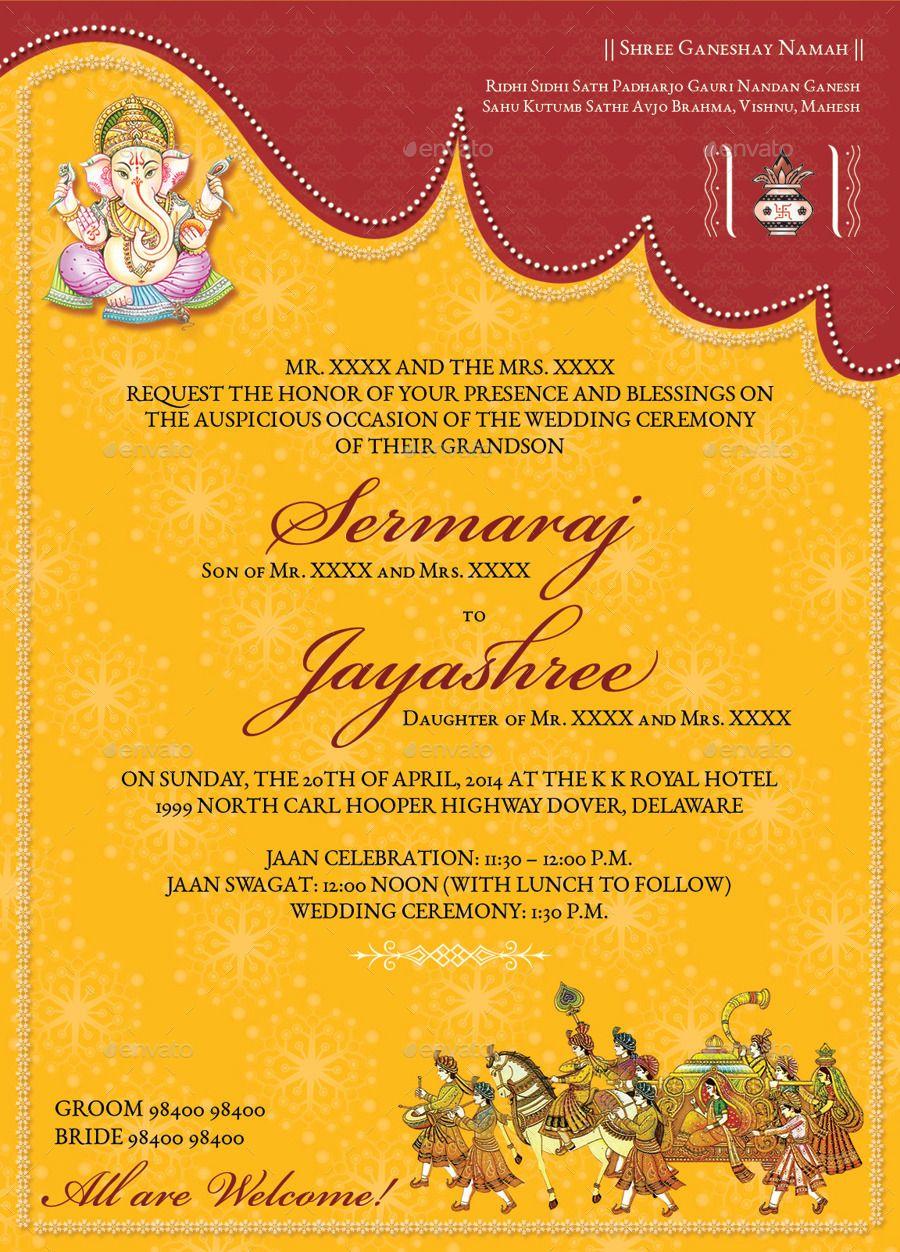 Hindu Wedding Invitations Templates