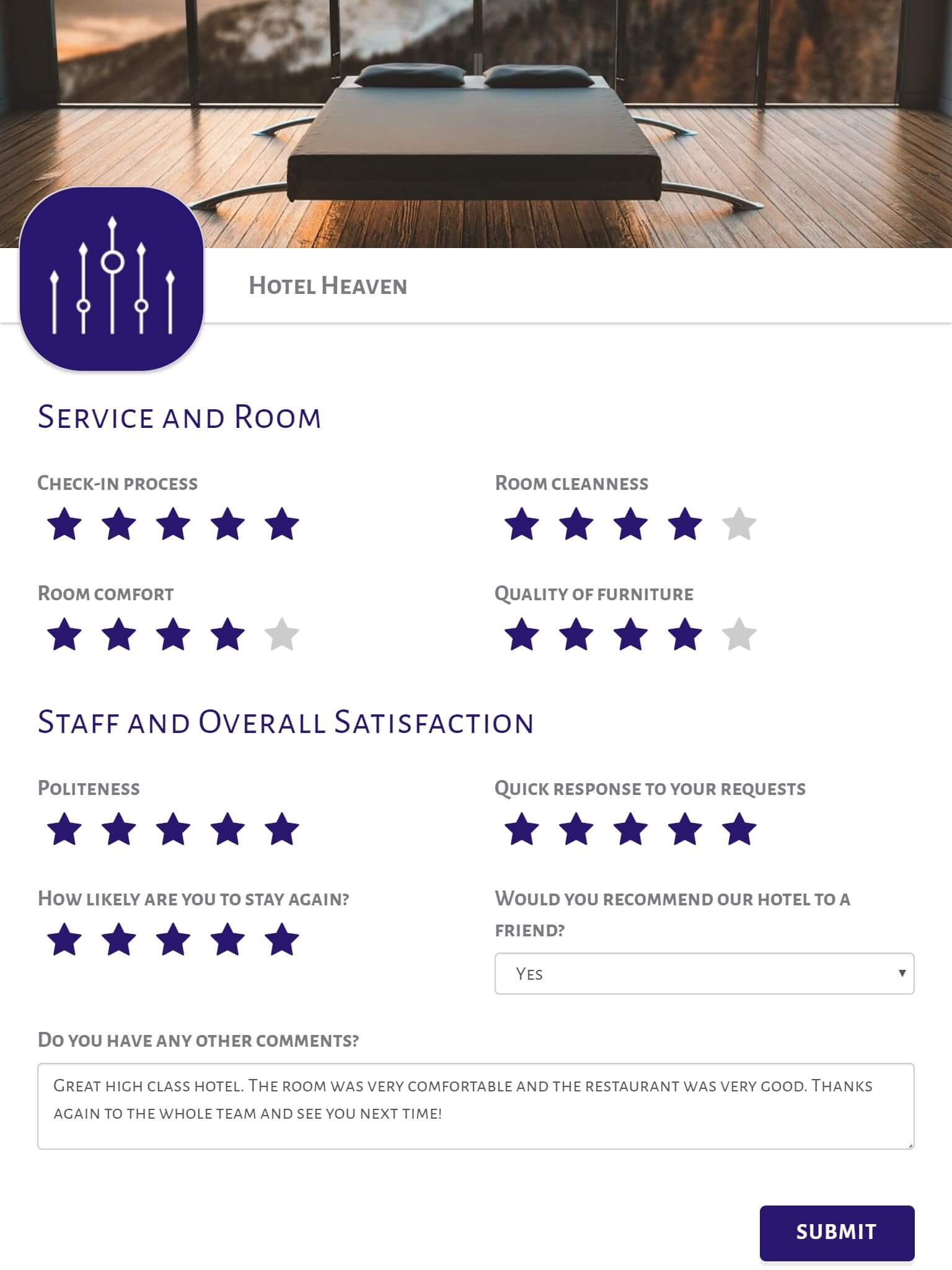 Hotel Survey Template