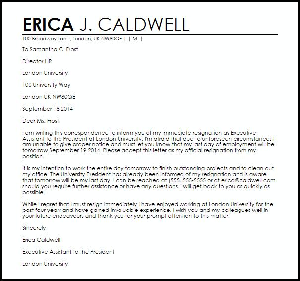 Immediate Resignation Letter Templates