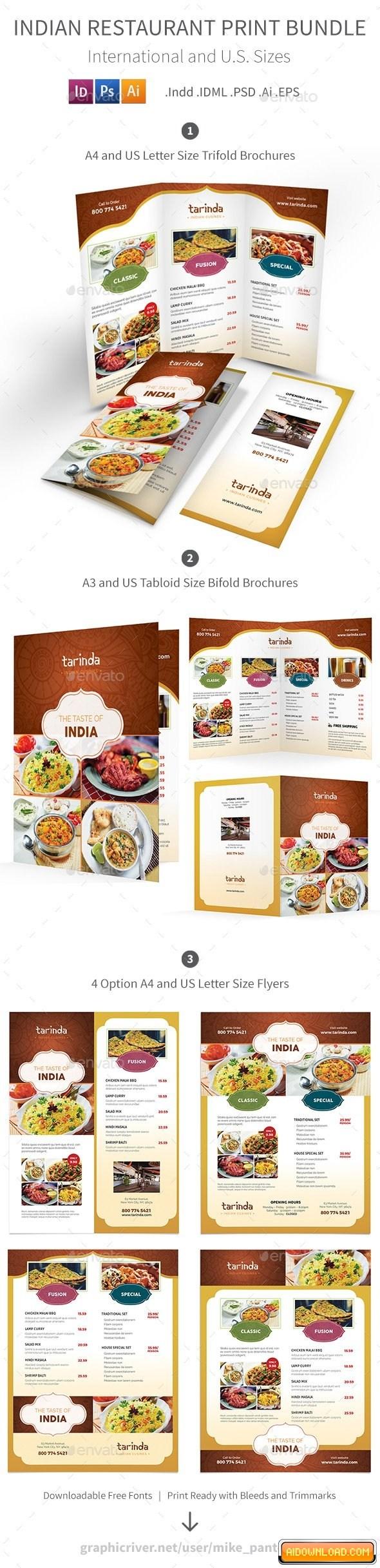 Indian Restaurant Menu Templates Free Download
