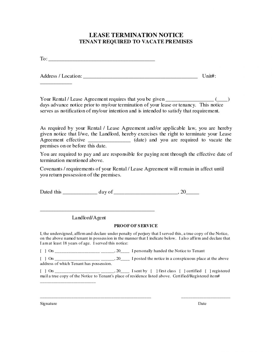 Landlord Agreement Letter Template