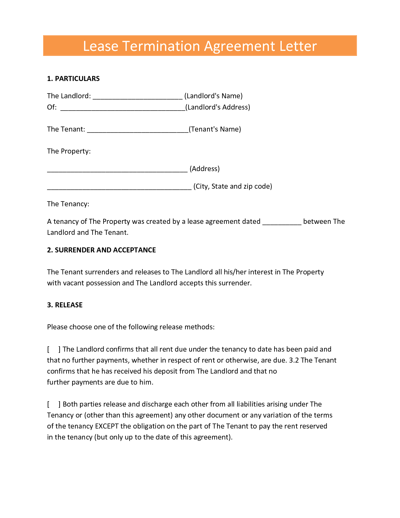 Landlords Contract Template