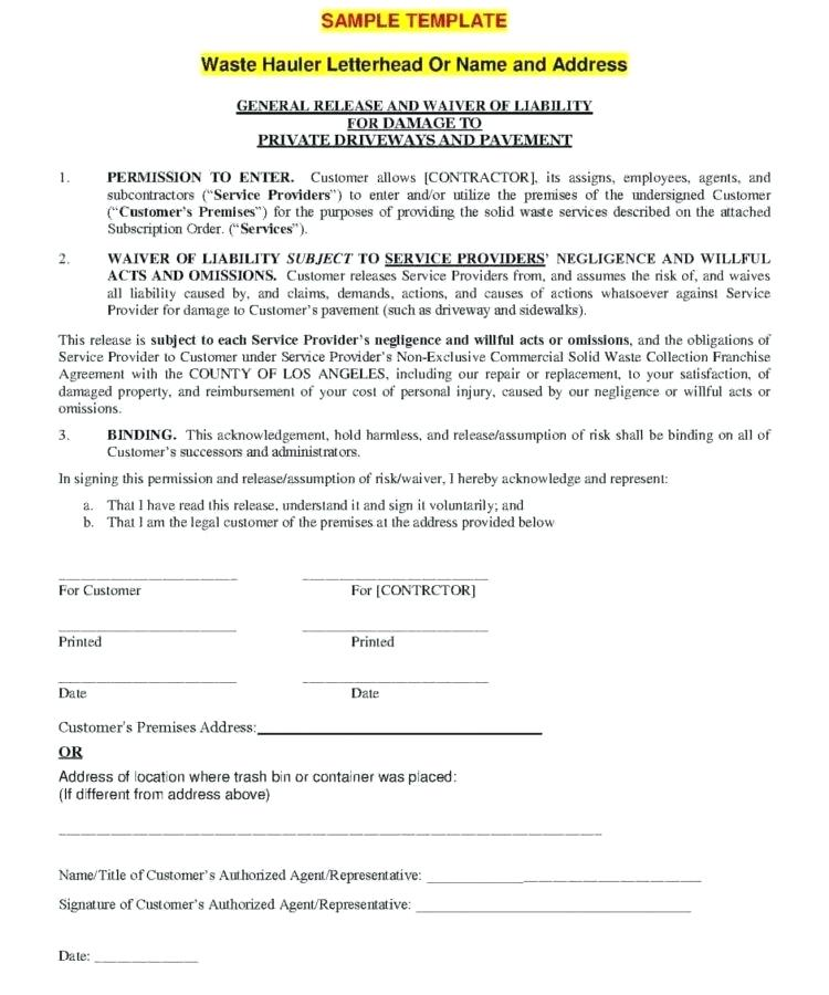 Legal Waiver Form Templates