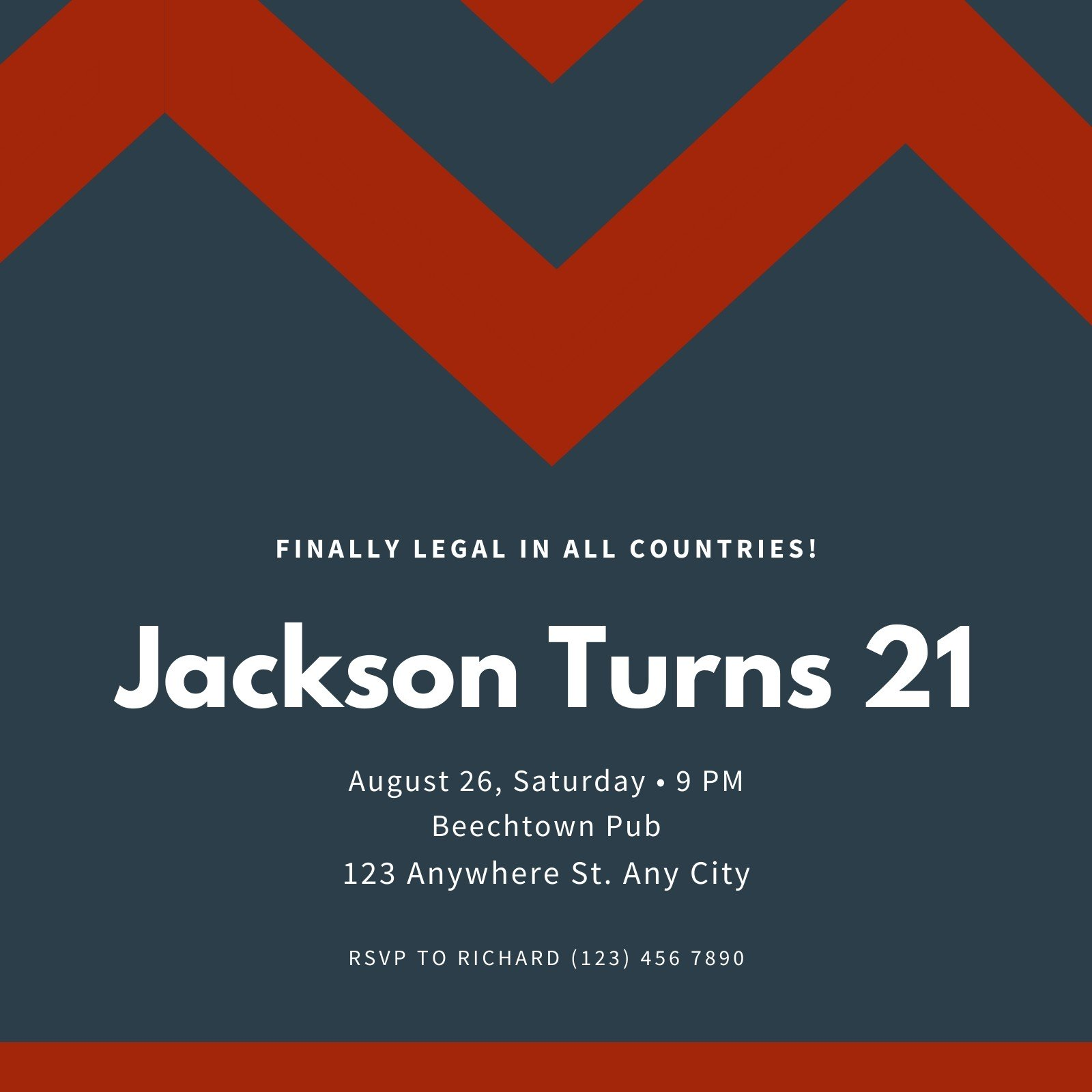 Male 21st Invitation Templates