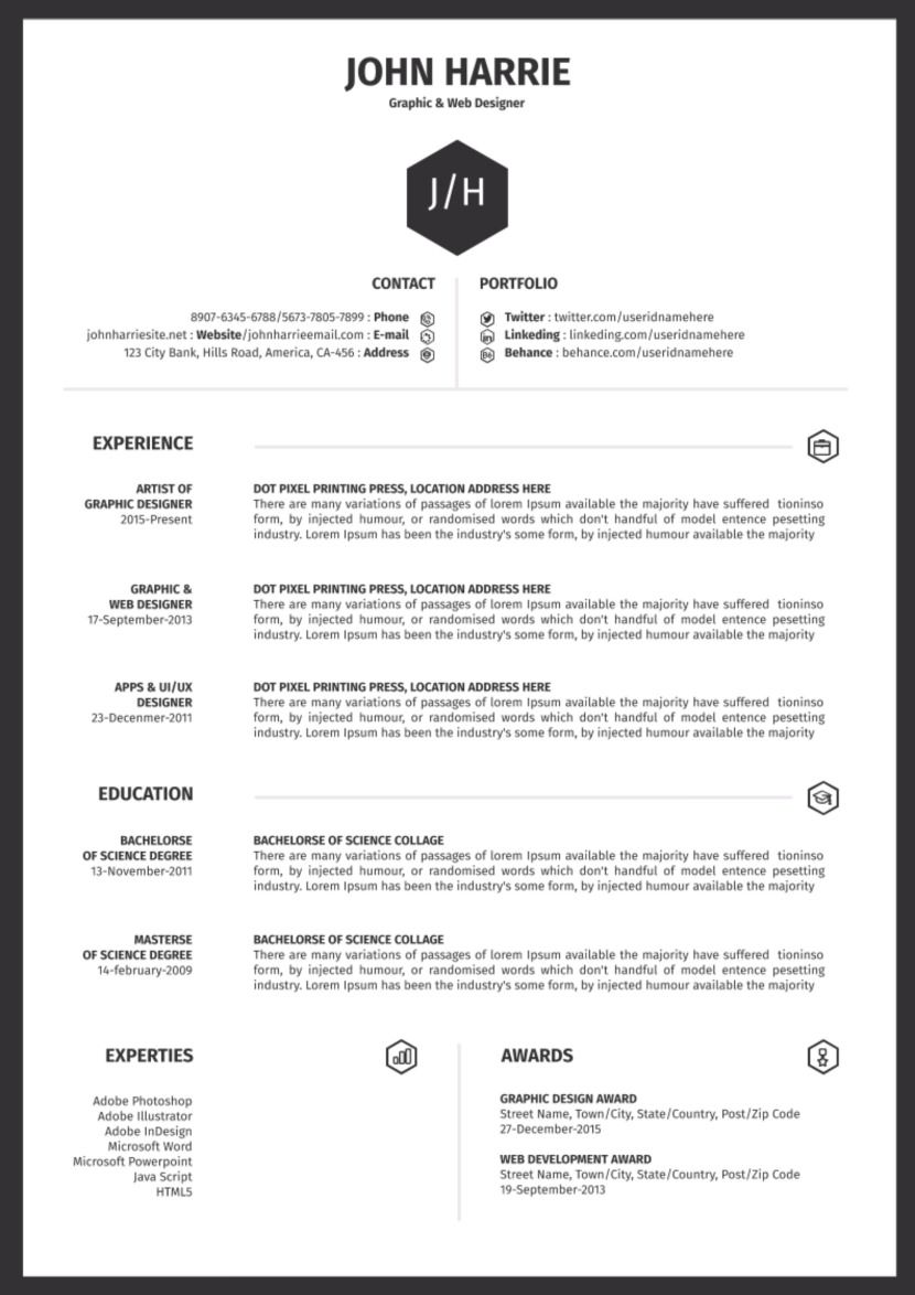 Modern Simple Word Document Resume Templates