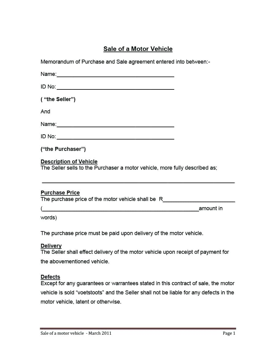 Motor Vehicle Rental Agreement Template