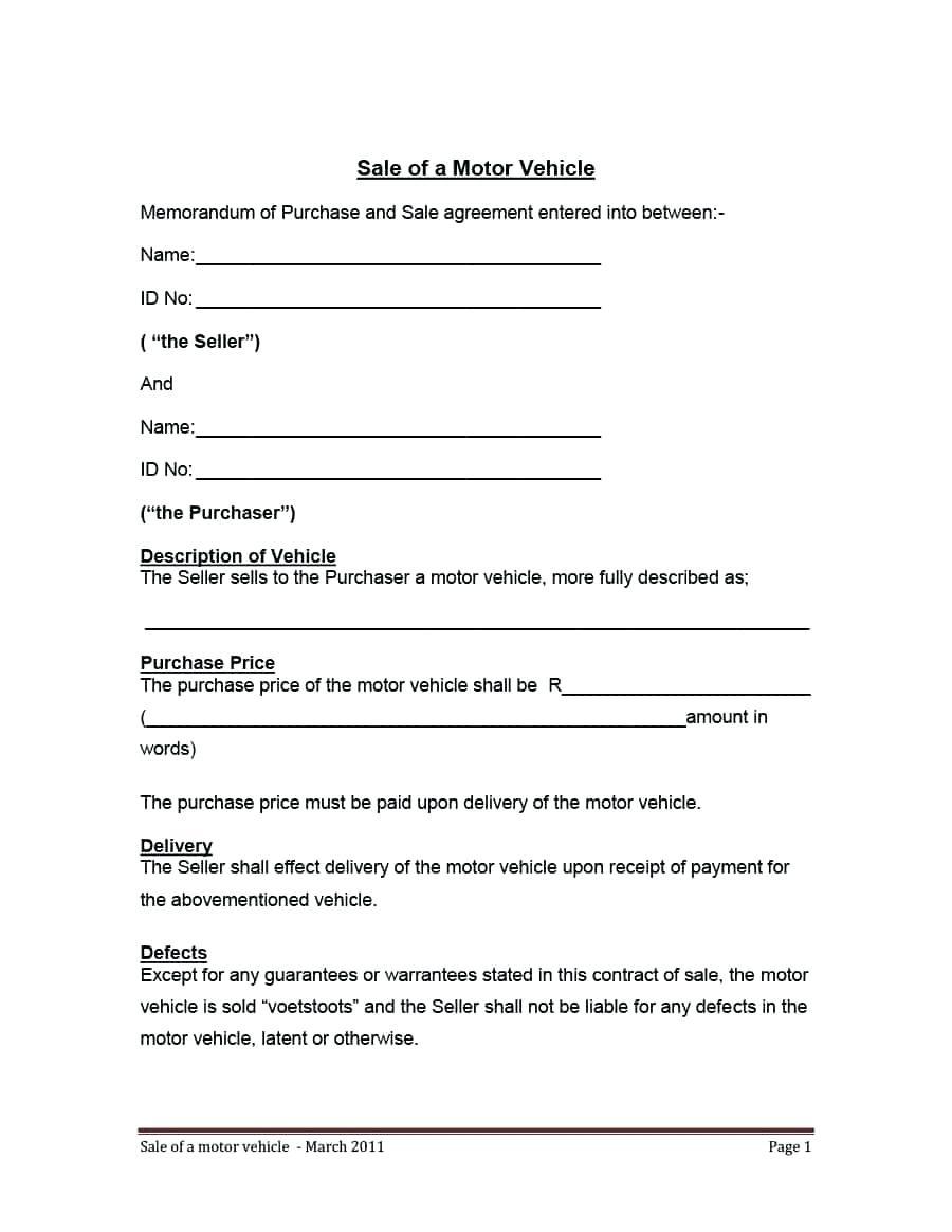 Motor Vehicle Rental Agreement Template