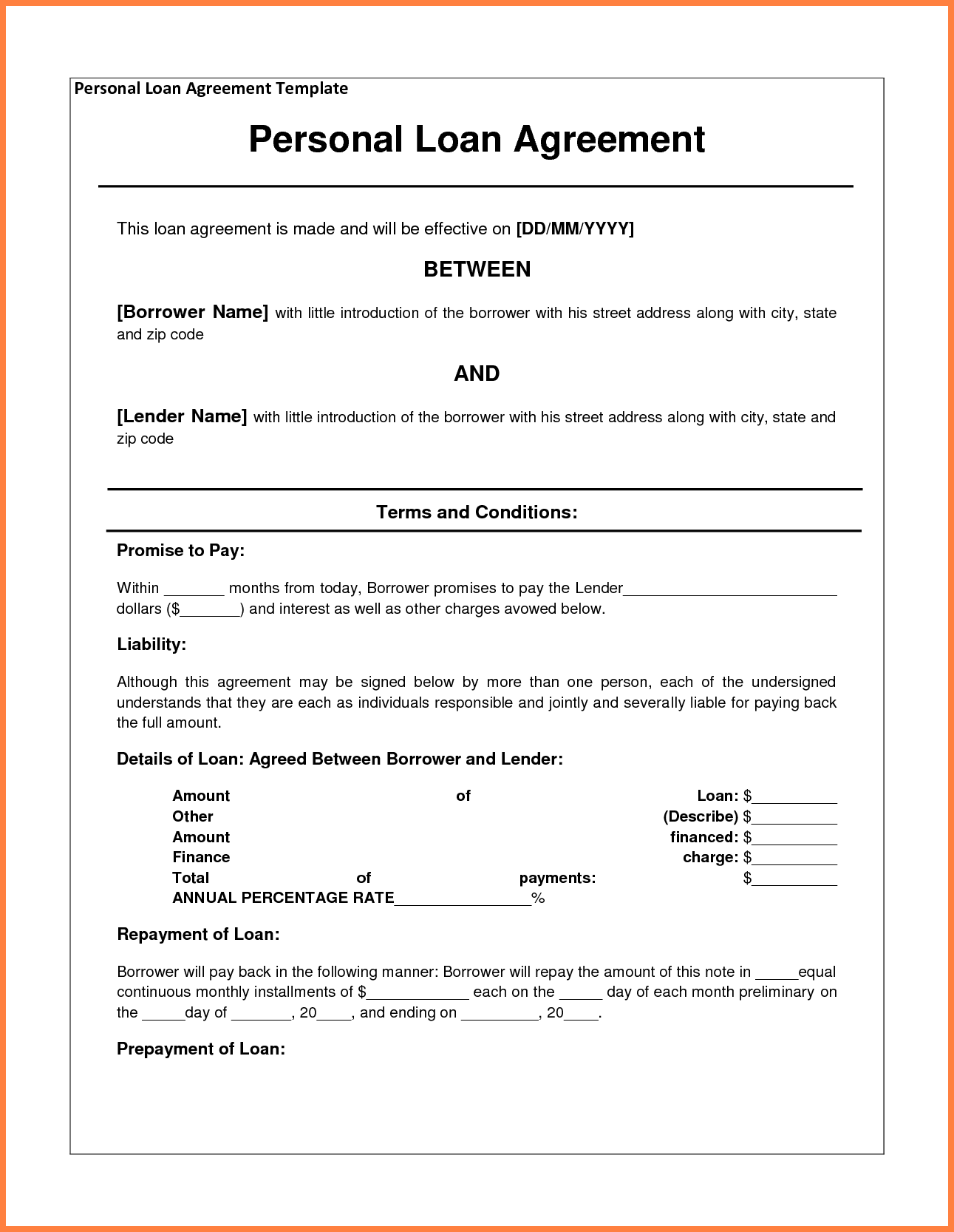 Personal Loan Agreement Between Friends Template