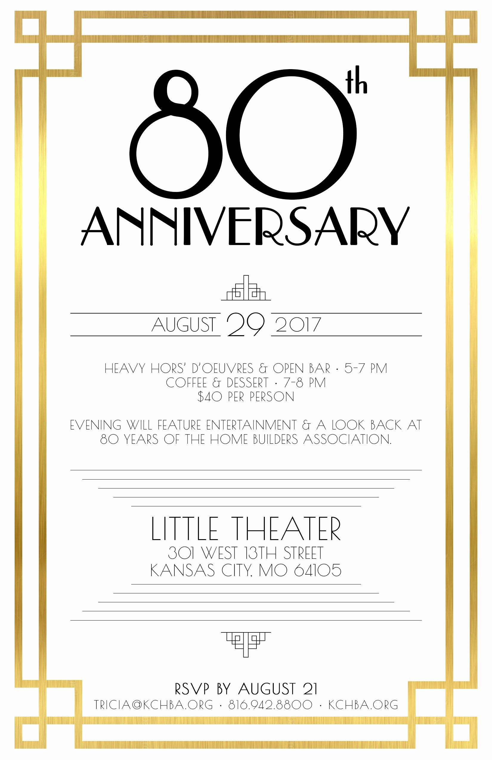Printable 80th Birthday Invitation Template