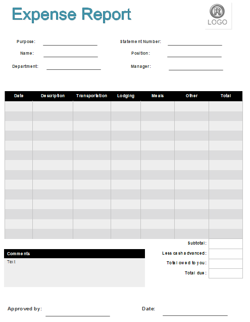Printable Business Expense Report Template