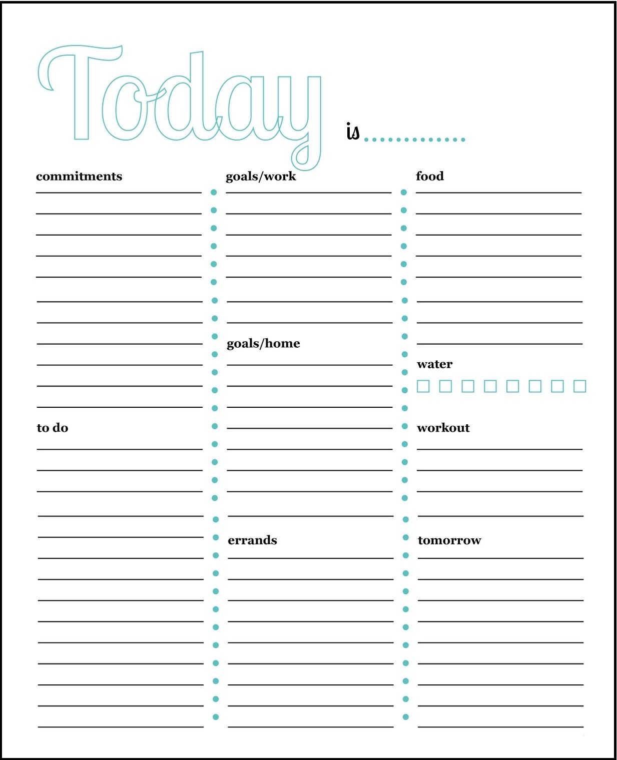 Printable Daily Task Planner Template