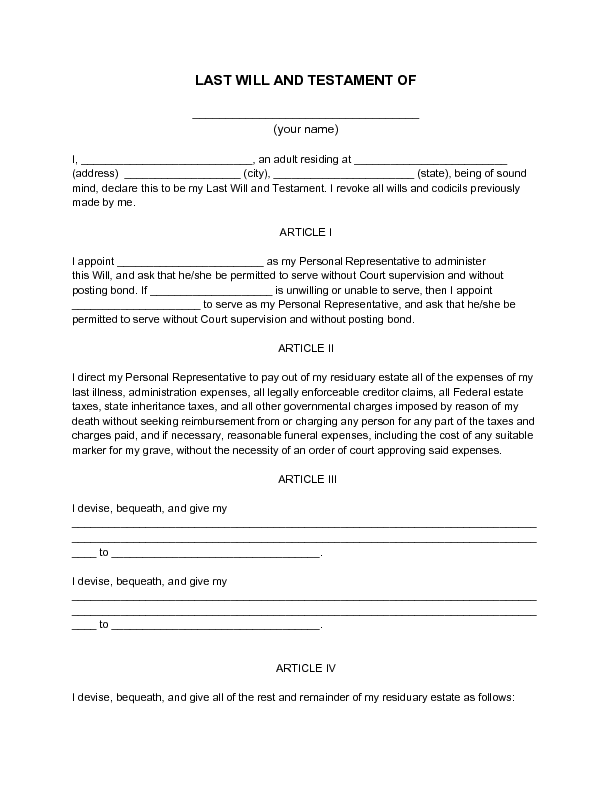 Printable Last Will And Testament Template Pdf