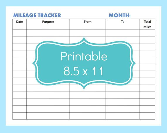 Printable Mileage Form Template