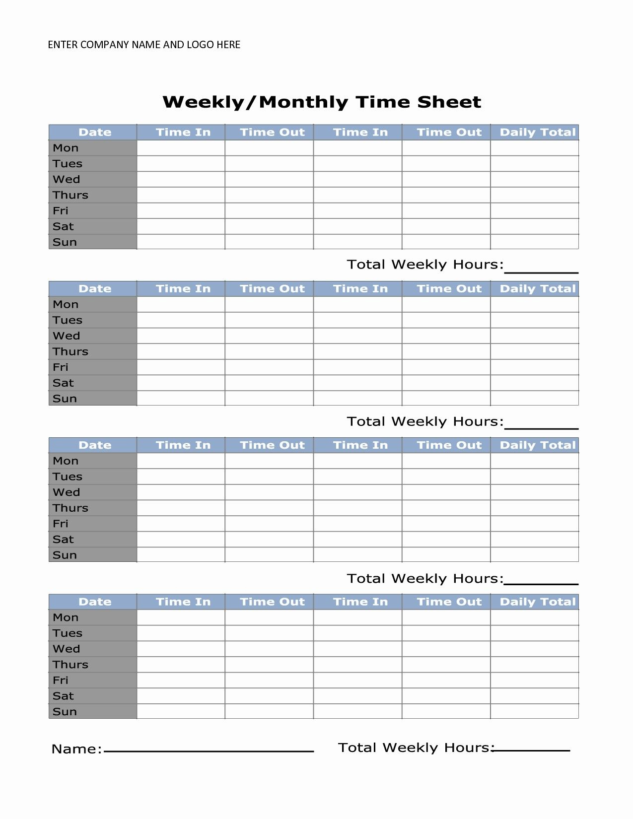 Printable Simple Weekly Timesheet Template