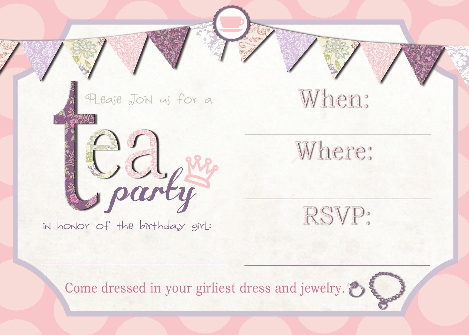 Printable Tea Party Invitations Templates Free