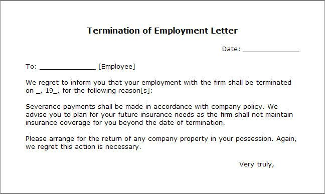Printable Termination Letter Template Free