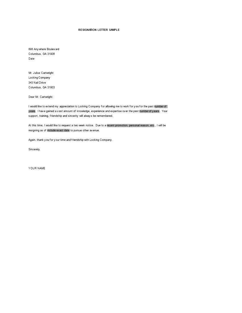 Resignation Letter Templates Word