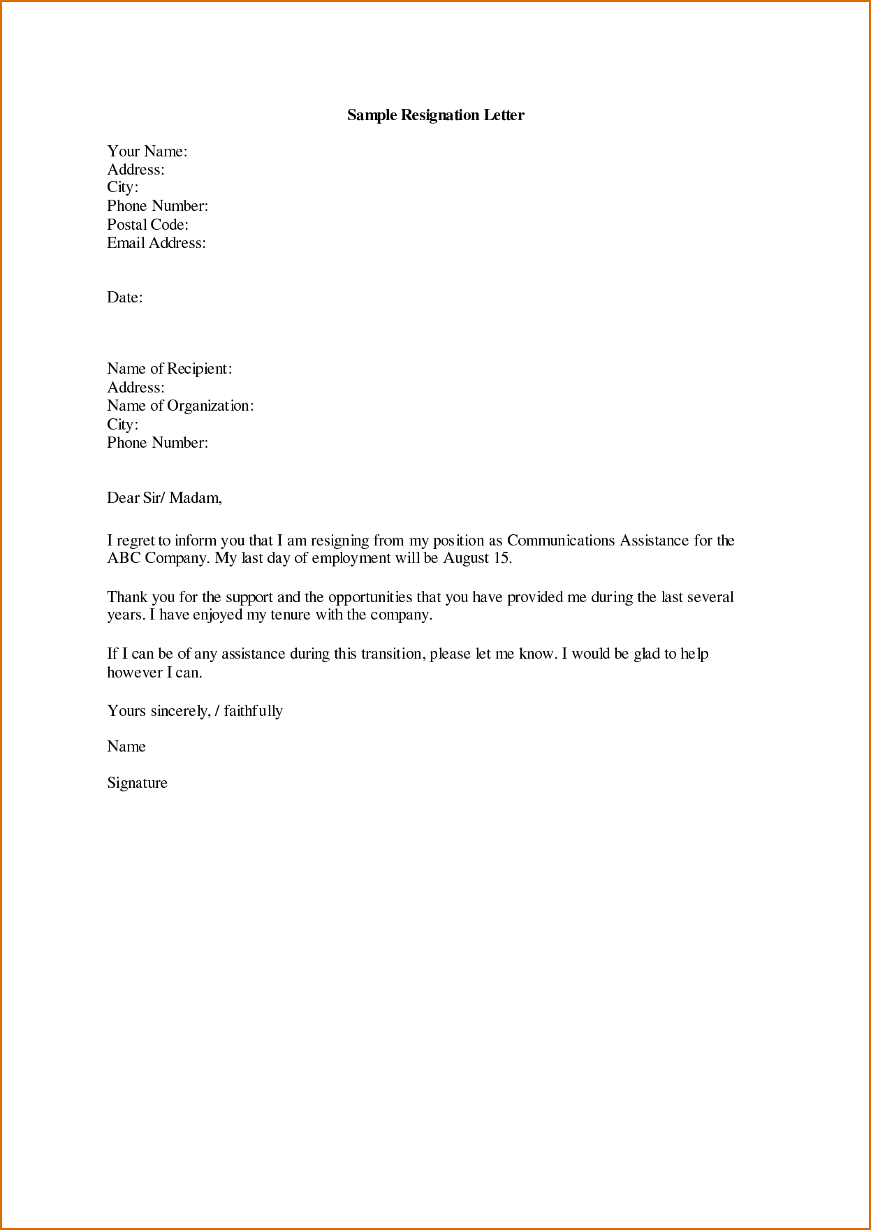 Resignation Template Letters