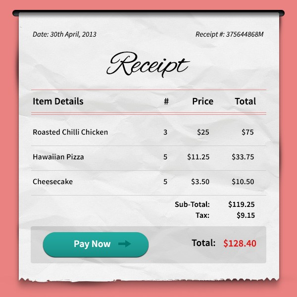 Sample Receipts Templates
