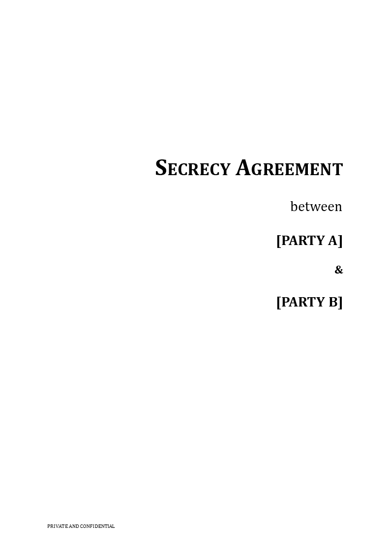 Secrecy Agreement Template