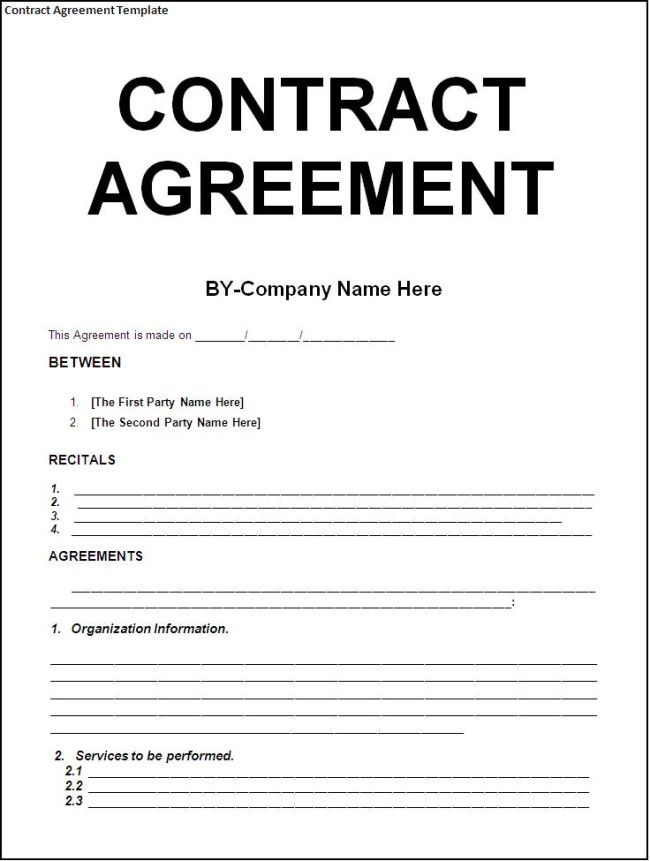 Simple Contract Agreement Template Between Two Parties