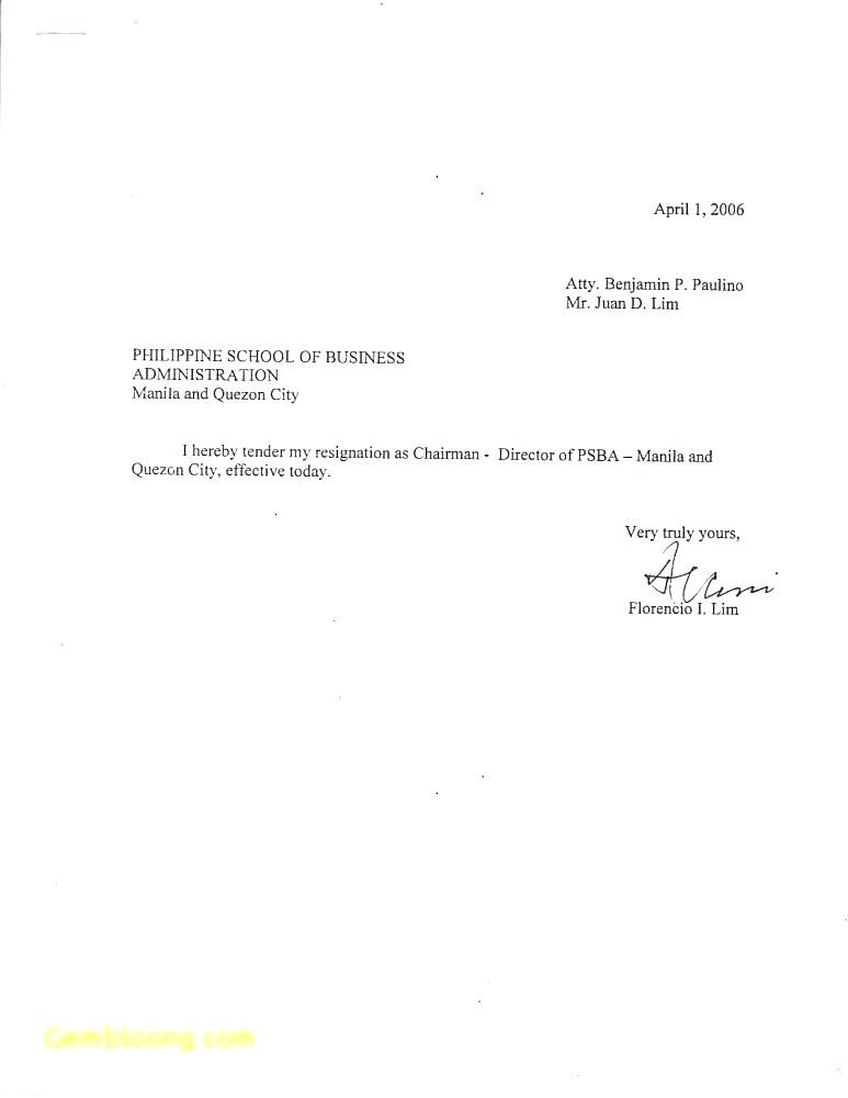 Simple Resignation Letters Template