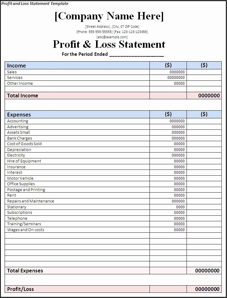 Statement Of Profit And Loss Template