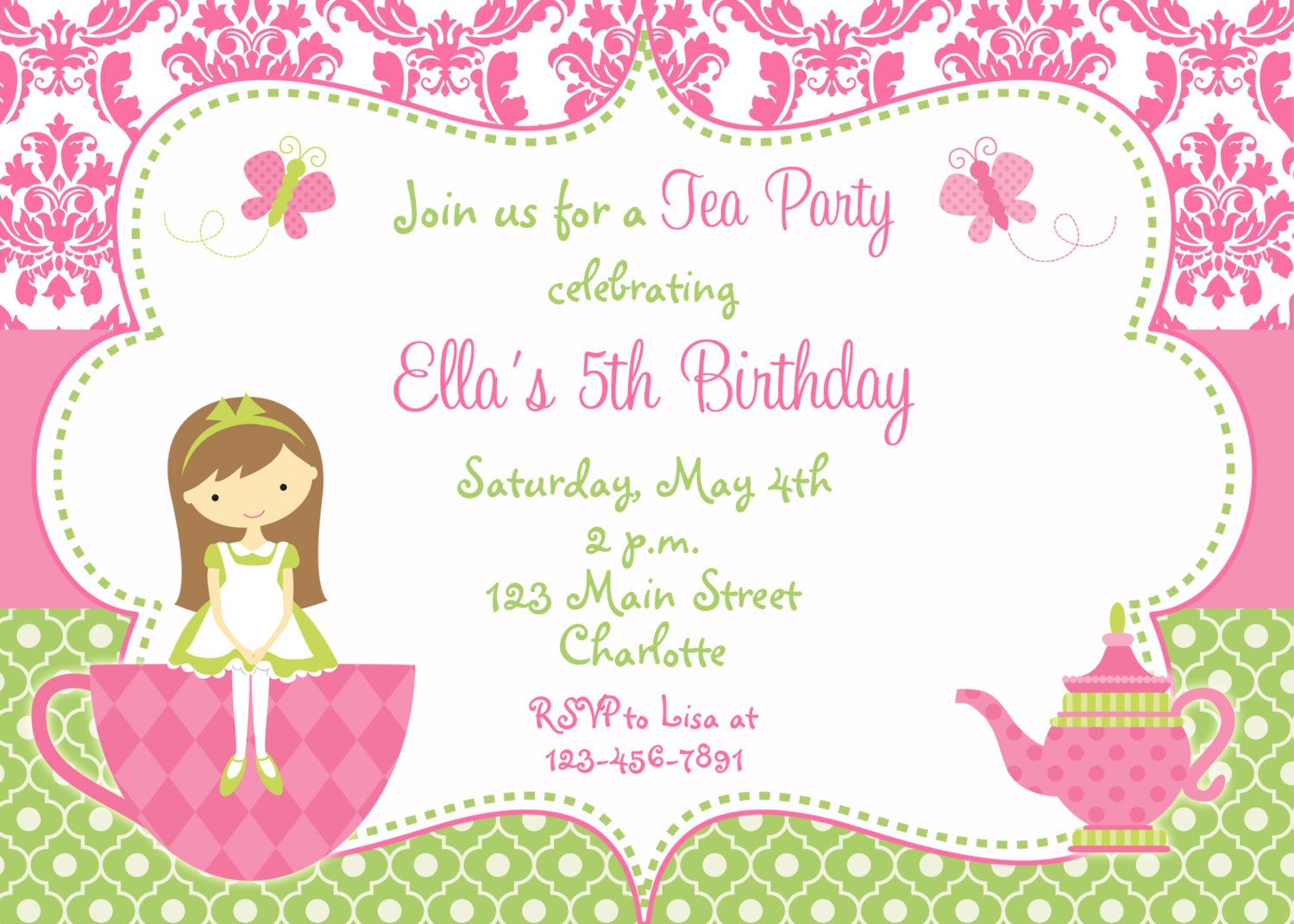 Tea Party Invitations Templates Free