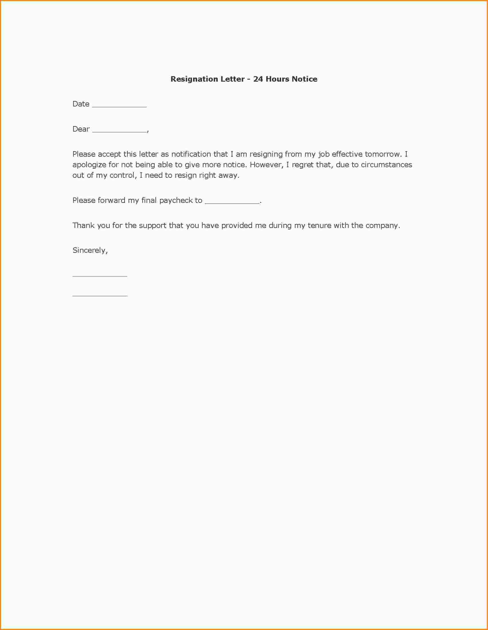 Template Examples Of Resignation Letters