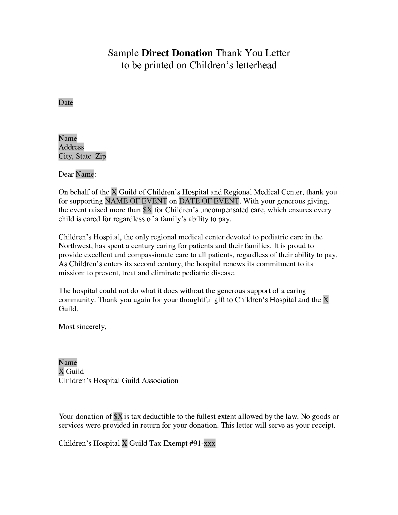 Donation Letter Template For Fundraiser Download