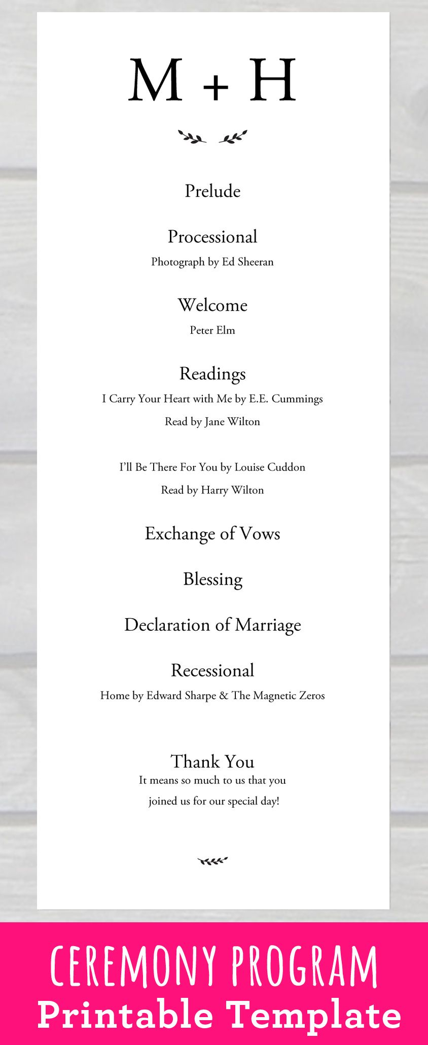 Template For Wedding Ceremony Program