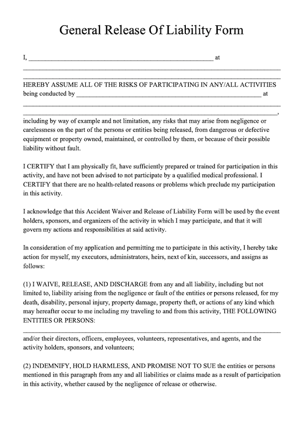 Template Free Release Of Liability Form
