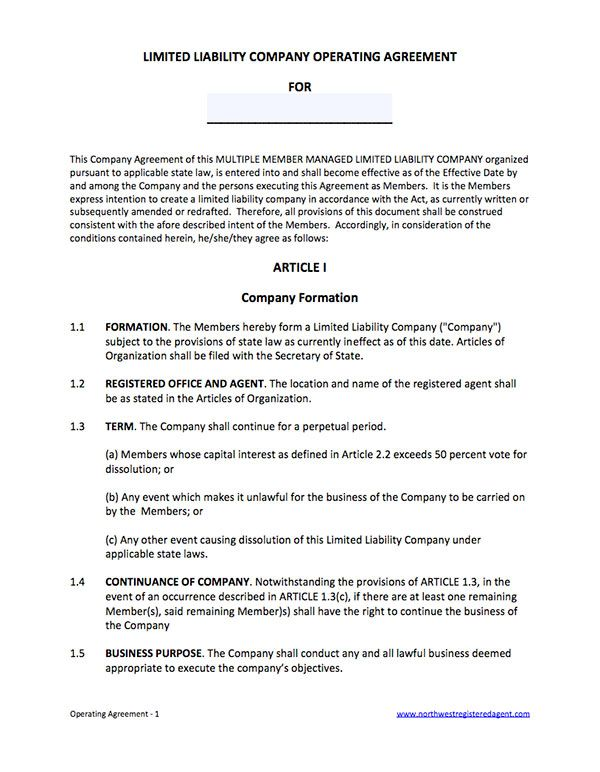 Template Sample Operating Agreement