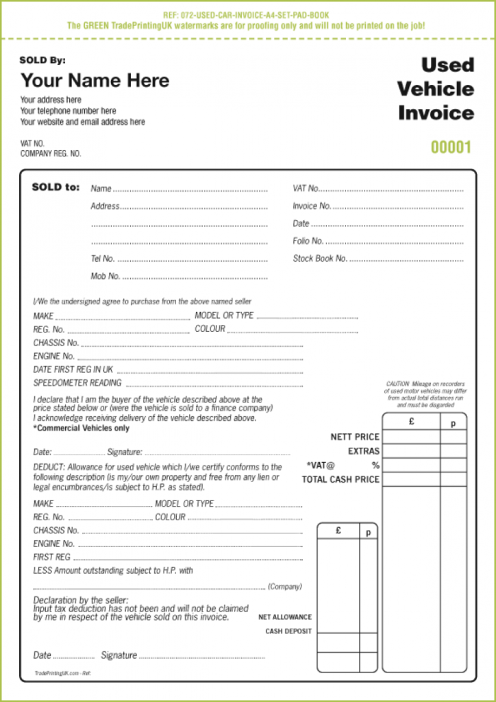 Used Car Invoice Template Uk